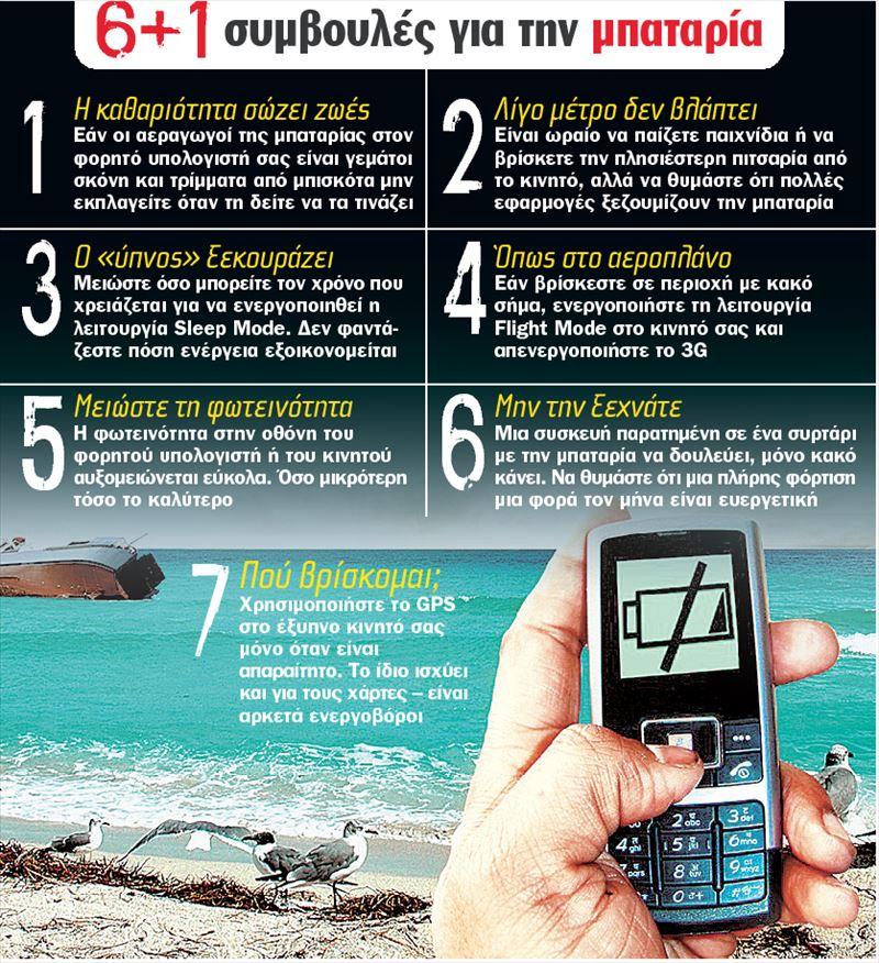6+1 συμβουλές για τη μπαταρία