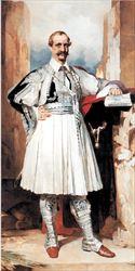 Η προσωπογραφία του  διοικητή της Εθνικής  Στέφανου Στρέιτ, έργο  του Γιώργου Ιακωβίδη,  γνωστού κατά τα άλλα  ως «ζωγράφου της  παιδικής ηλικίας».  «Ουσιαστικά θεωρείται ο  πρώτος που εισήγαγε τις  εικαστικές τέχνες στην  Τράπεζα. Κατά τη  διάρκεια της θητείας  του η Εθνική παρείχε  και στέγαση σε  πρόσφυγες από τη  Θεσσαλία και την  Ήπειρο μετά τον άτυχο  πόλεμο του 1897», λέει η  επιμελήτρια της έκθεσης