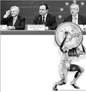 Ο πρόεδρος της Ευρωπαϊκής Κεντρικής Τράπεζας Ζαν- Κλοντ Τρισέ, ο υπουργός Οικονομικών Γιώργος  Παπακωνσταντίνου και ο πρόεδρος του Εurogroup Ζαν- Κλοντ Γιούνκερ μετά την επικύρωση της συμφωνίας  για ενεργοποίηση του μηχανισμού βοήθειας στην έκτακτη Σύνοδο των κρατών-μελών της ευρωζώνης την  περασμένη Κυριακή