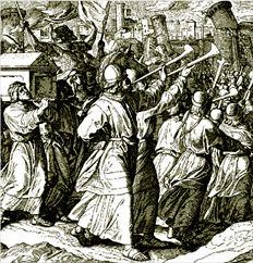 ¬ ΗΒίβλος  γράφει πως τα τείχη της Ιεριχούς έπεσαν υπό τον ήχο των σαλπίγγων των εβραίων ιερέων,  όµως επιστήµονες υποθέτουν πως κατέρρευσαν εξαιτίας ενός σεισµού