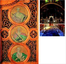 Θησαυρό κρύβει το βηµόθυρο της Ωραίας  Πύλης του Αγίου  Αλεξάνδρου στο  Παλαιό Φάληρο: έξι άγνωστα  έργα του Κωνσταντίνου Παρθένη που δεν  έχουν καταγραφεί και συντηρηθεί ποτέ. Εδώ το  αριστερό φύλλο της πόρτας  όπου απεικονίζονται ο Ευαγγελιστής Ματθαίος (πάνω) ο  προφήτης Δαβίδ  (µέση) και ο Ευαγγελιστής Ιωάννης (κάτω)