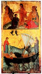 Ο Αγγελος Ακοτάντος ζωγράφισε τις περισσότερες εικόνες του Αγίου Φανουρίου, καθώς  στην εποχή του καθιερώθηκε η λατρεία του  αγίου στην Κρήτη. Τα αγιολογικά κείµενα υποστηρίζουν πως ο άγιος έσωσε τέσσερις υποψήφιους ιερείς από τα χέρια των πειρατών και  η επιστροφή τους αποτυπώνεται στην εικόνα  του Αγγελου µε την παρουσία του Αγίου Φανουρίου και της Παναγίας