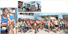 Ανακούφιση την ώρα του τερματισμού στο Καλλιμάρμαρο (πάνω αριστερά). Ο Κενυάτης Ρέιμοντ Μπετ έκοψε πρώτος το νήμα με χρόνο 2.12΄ 40΄΄ (πάνω δεξιά). Ο χθεσινός Μαραθώνιος ήταν  πρωτοφανής σε προσέλευση και ακτινοβολία. Υπολογίζεται ότι πάνω από 25.000 δρομείς διαγωνίστηκαν και στις τρεις διαδρομές