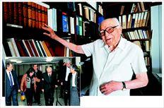 Επάνω, ο Εµµανουήλ Κριαράς στο γραφείο του. Αριστερά, ο οµότιµος καθηγητής µπαίνει µε µπαστούνι – καθώς είχε ένα ατύχηµα µε το πόδι του  – στην Αίθουσα Τελετών του ΑΠΘ, καταχειροκροτούµενος