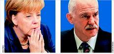 Ανγκελα Μέρκελ (αριστερά) και Γιώργος Παπανδρέου (δεξιά). Κρίσιµο το  σηµερινό τους ραντεβού για την πορεία της Ελλάδας, στη σκιά της  συντριβής της γερµανίδας καγκελαρίου στις τοπικές εκλογές του Αµβούργου