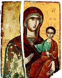 Θύµα  αρχαιοκαπήλων  η Παναγία  Οδηγήτρια, εκλάπη  από τον Ναό του Αγίου  Νικολάου στο Ηλιοχώρι του ∆ήµου Τύµφης (στον Νοµό  Ιωαννίνων) τον Απρίλιο του 2009. Η εικόνα διαστάσεων 69  Χ 31,5 εκ. χρονολογείται στον 17ο αιώνα. Η µισή εικόνα  (αριστερά) παρέµεινε στην εκκλησία κι άλλη µισή (δεξιά)  προσφερόταν προς πώληση µέσω ∆ιαδικτύου