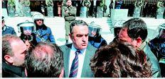 Ο πρόεδρος  της Ενωσης ∆ικαστών  και Εισαγγελέων  Χαράλαµπος Αθανασίου  (στο κέντρο), κατά  τη συγκέντρωση  διαµαρτυρίας των  δικαστών τον Μάρτιο  έξω από τον Αρειο Πάγο