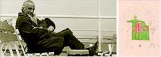 Το ανανεωµένο  ενδιαφέρον  για τον  αρχιτέκτονα Αρη  Κωνσταντινίδη  δίνει το  έναυσµα για την  επανέκδοση  των έργων του  που από καιρό  έχουν εξαντληθεί.  Στην επάνω  φωτογραφία,  ο αρχιτέκτονας  ταξιδεύοντας για  την Αίγινα. ∆εξιά,  το σχέδιο του Αρη  Κωνσταντινίδη  από ένα  µυκονιάτικο  ξωκκλήσι κοσµεί  το εσώφυλλο  του βιβλίου  «Ξωκκλήσια  της Μυκόνου»